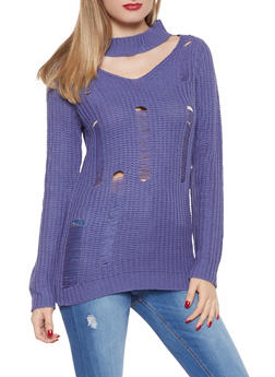 Distressed Keyhole Tunic Sweater - 1020038348130