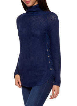 Lace Up Turtleneck Sweater - 1020038348264