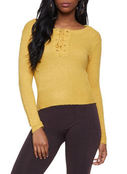 Lace Up Cropped Sweater - 1020038348271