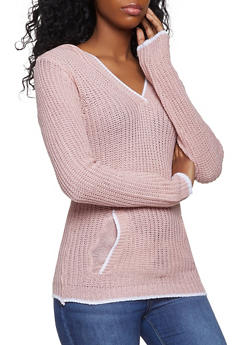 Contrast Trim Hooded Sweater - 1020038348274