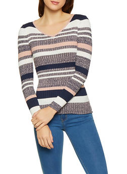Striped Rib Knit Sweater - 1020038348429