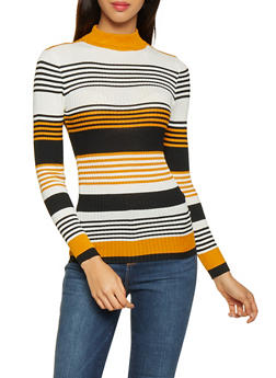Striped Mock Neck Sweater - 1020038348433