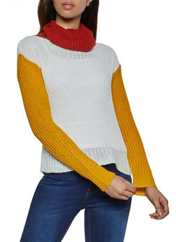 Color Block Turtleneck Sweater - 1020038349124