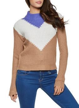 Mock Neck Chevron Sweater - 1020038349125