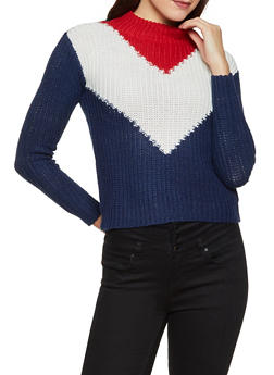Mock Neck Chevron Sweater - 1020038349125