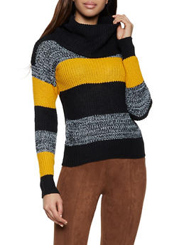 Cowl Neck Striped Sweater - 1020038349140