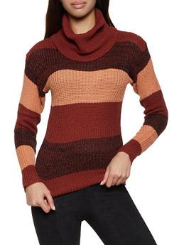 Cowl Neck Striped Sweater - 1020038349140