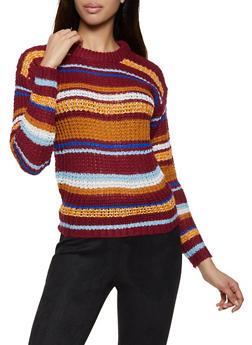 Striped Long Sleeve Sweater - 1020038349144