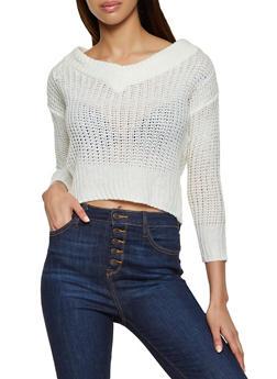 V Neck Pointelle Sweater - 1020038349145