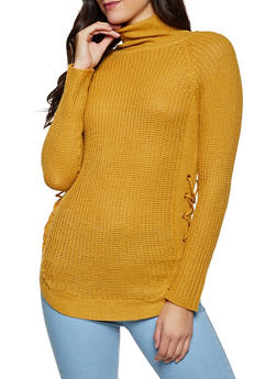 Lace Up Side Mock Neck Sweater - 1020038349154
