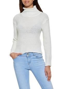 Pointelle Mock Neck Sweater - 1020038349157