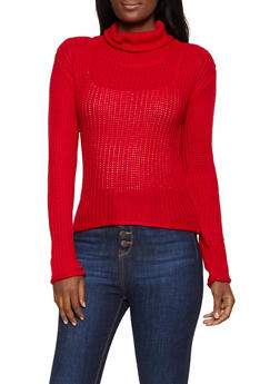 Pointelle Mock Neck Sweater - 1020038349157