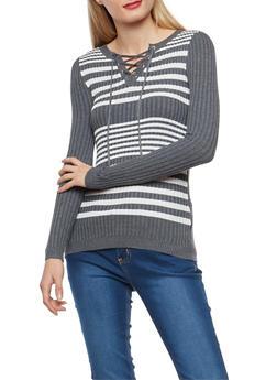 Striped Rib Knit Lace Up Sweater - 1020051060002