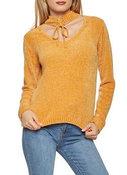 Keyhole Neck Lace Up Sweater - 1020051060031