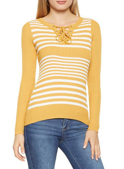 Striped Lace Up Sweater - 1020051060070