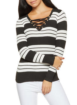 Rib Knit Lace Up Sweater - 1020051060071