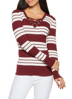 Rib Knit Lace Up Sweater - 1020051060071