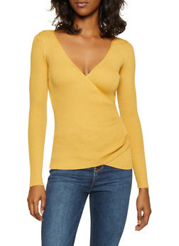 Faux Wrap Ribbed Knit Sweater - 1020051060074