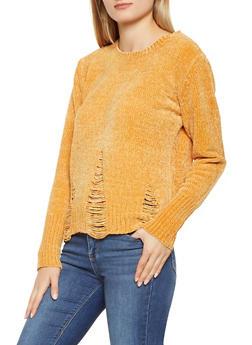 Distressed Crew Neck Sweater - 1020051060078