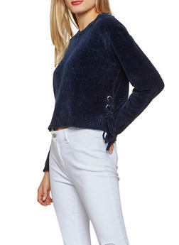 Lace Up Side Chenille Sweater - 1020051060079