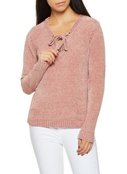 Long Sleeve Lace Up Sweater - 1020051060080