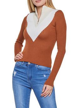 Chevron Zip Neck Sweater - 1020051060139