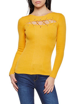 Lace Up Cut Out Sweater - 1020051060206