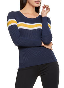 Striped Detail Rib Knit Sweater - 1020051060234