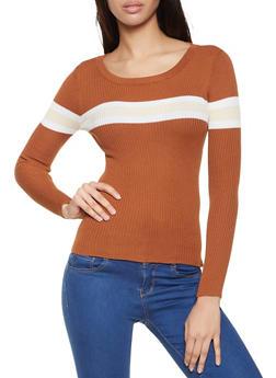 Striped Detail Rib Knit Sweater - 1020051060234