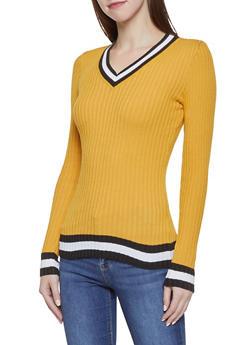 Striped Trim V Neck Sweater - 1020051060468