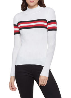 Stripe Detail Rib Knit Sweater - 1020051060469
