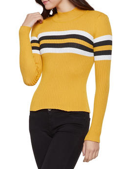 Stripe Detail Rib Knit Sweater - 1020051060469