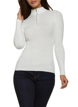 Half Zip Ribbed Knit Sweater - 1020051061136