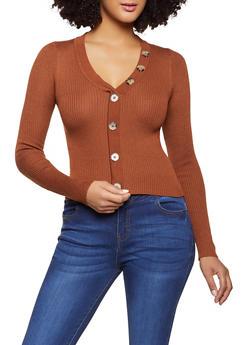 Ribbed Knit V Neck Sweater - 1020051061199