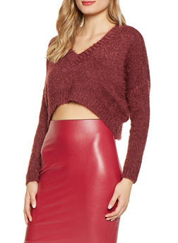 Cropped Feathered Knit Sweater - 1020051930110