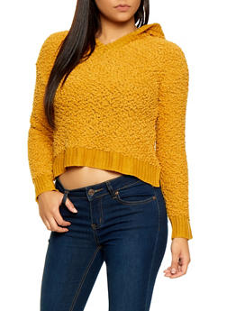 Hooded Popcorn Knit Sweater - 1020051930183