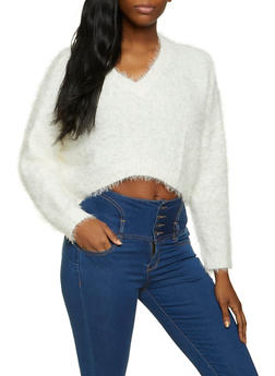 Cropped Fuzzy V Neck Sweater - 1020051930210