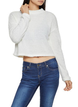 Cropped Fuzzy Sweater - 1020051930415