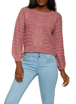 Cable Knit Long Sleeve Sweater - 1020051930521