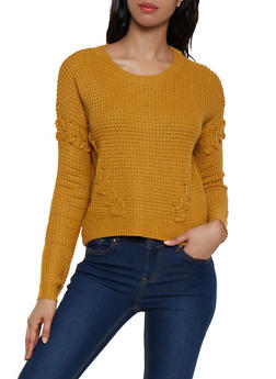 Crew Neck Lace Up Sweater - 1020051930522