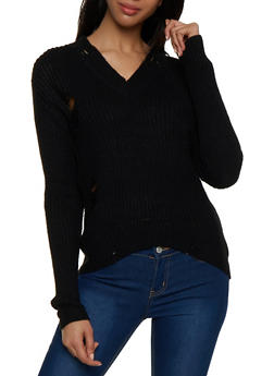 Distressed V Neck Sweater - 1020051930527
