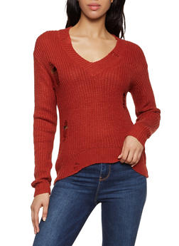 Distressed V Neck Sweater - 1020051930527