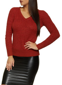 Popcorn Knit V Neck Sweater - 1020051930529