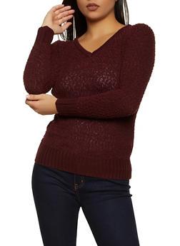Popcorn Knit V Neck Sweater - 1020051930529