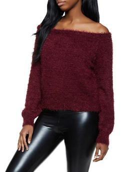 Fuzzy Off the Shoulder Sweater - 1020051930531