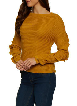 Ruffled Sleeve Sweater - 1020051930665