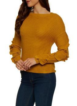 Ruffled Sleeve Sweater - 1020051930665