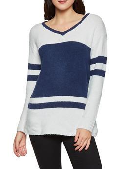 Contrast Trim Color Block Sweater - 1020051930839