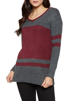 Contrast Trim Color Block Sweater - 1020051930839