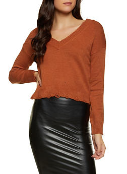 Frayed V Neck Sweater - 1020051930845